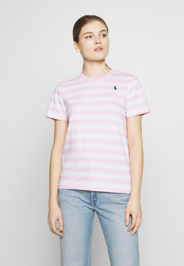 STRIPE SLEEVE - Camiseta estampada - carmel pink white