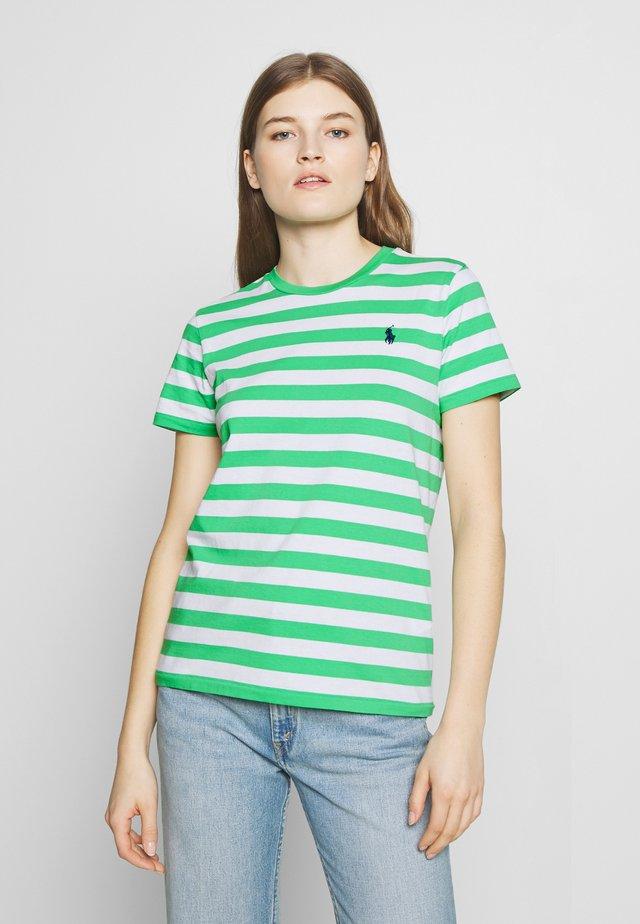STRIPE SLEEVE - Camiseta estampada - tiller green/white