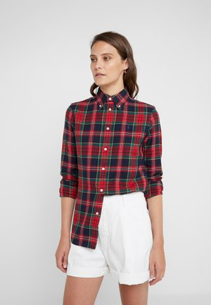 Button-down blouse - red/navy