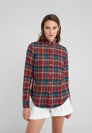 Button-down blouse -  burgundy/green