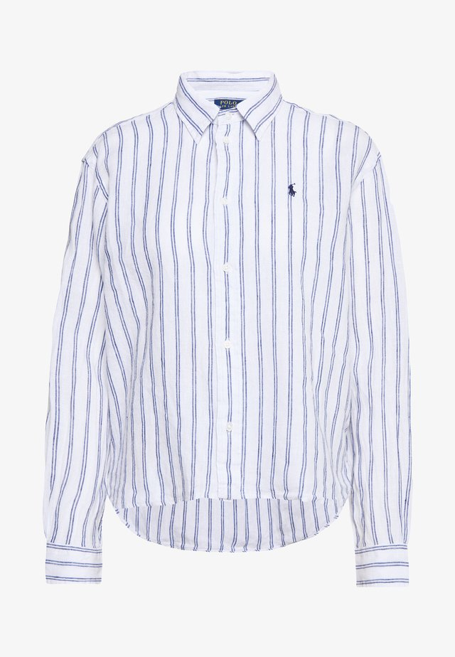 STRIPE - Button-down blouse - white/royal blue