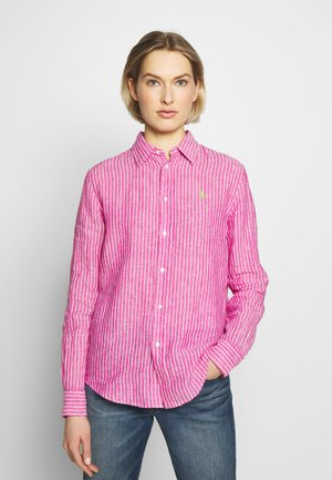 RELAXED LONG SLEEVE - Button-down blouse - pink/white