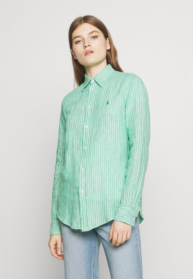 RELAXED LONG SLEEVE - Button-down blouse - green/white