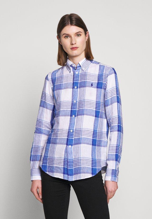 GEORGIA CLASSIC LONG SLEEVE - Button-down blouse - white/blue