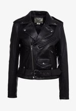 MOTO - Leather jacket - black