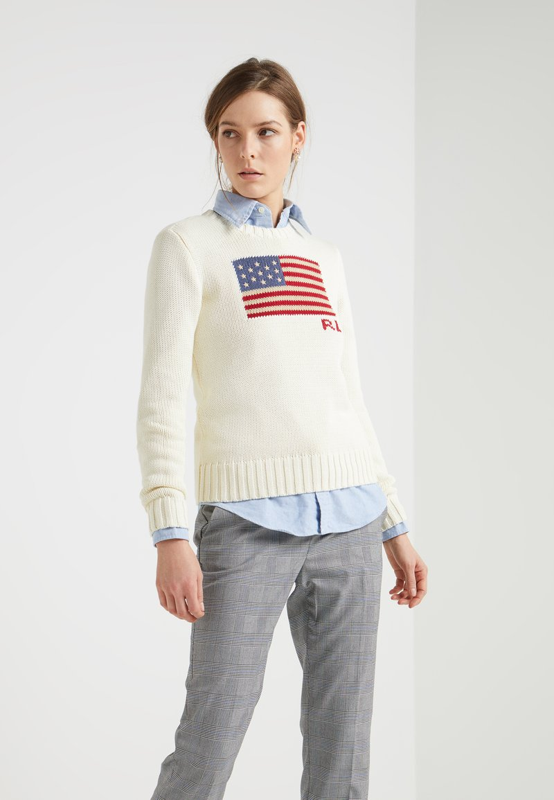 Polo Ralph Lauren - FLAG - Svetr - cream/multi