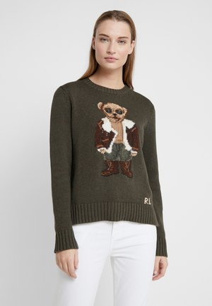 AVIATOR BEAR - Sweter - olive multi