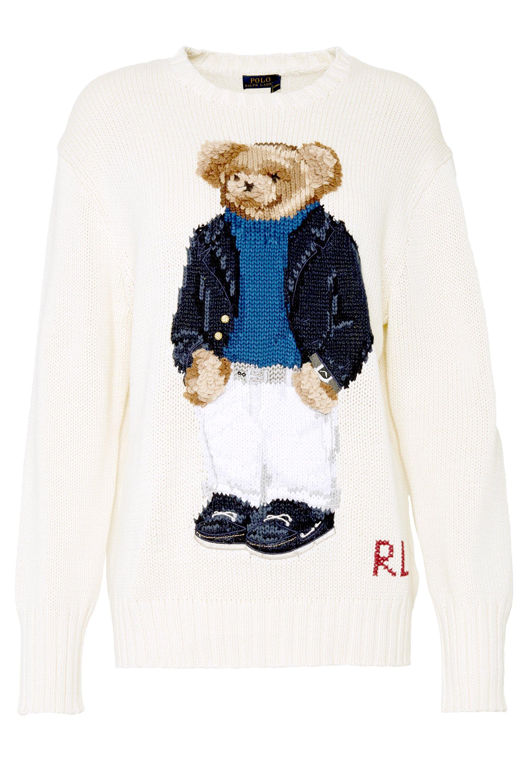 Polo Ralph Lauren Yacht Bear Long Sleeve - Stickad Tröja Cream/multi