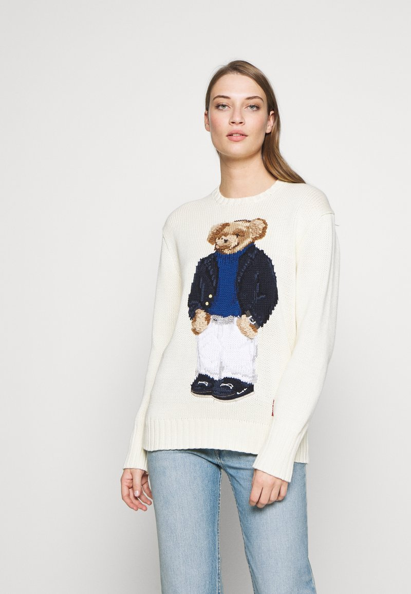 Polo Ralph Lauren - YACHT BEAR LONG SLEEVE  - Sweter - cream/multi