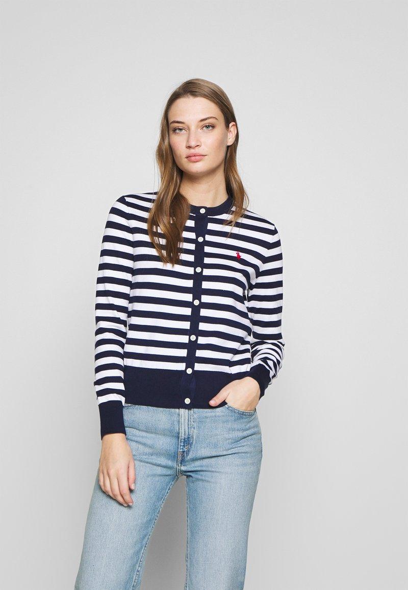 Polo Ralph Lauren - STRIPE LONG SLEEVE - Cardigan - bright navy/white