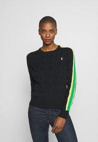 Polo Ralph Lauren - OVERSIZED CABLE - Sweter - black multi - 0