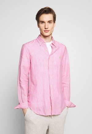 STRIPE SLIM FIT - Vapaa-ajan kauluspaita - pink/white