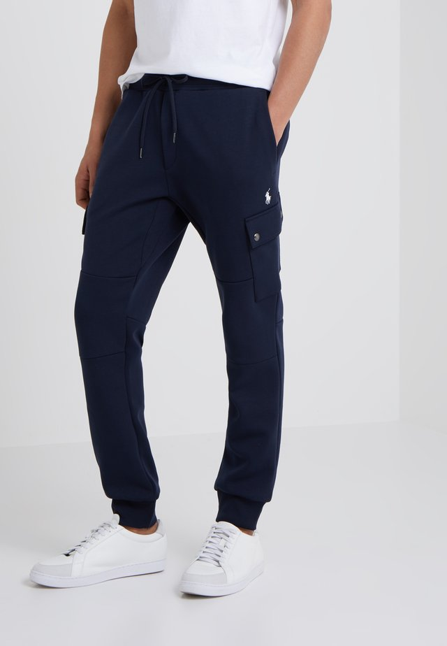 DOUBLE TECH - Tracksuit bottoms - aviator navy
