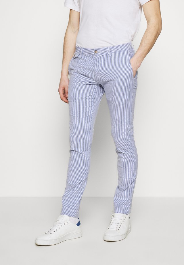 SLIM FIT BEDFORD PANT - Chinos - blue/white