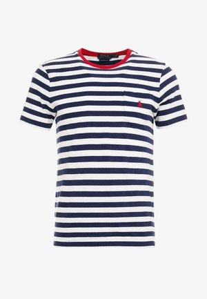 SLIM FIT - Print T-shirt - newport navy/white