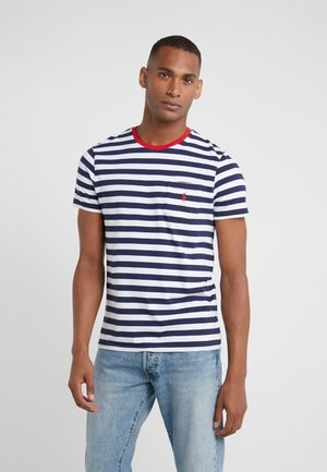 SLIM FIT - Triko s potiskem - newport navy/white