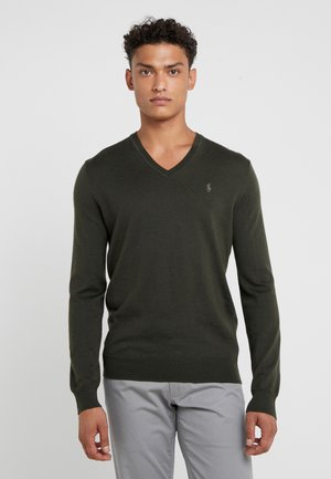 SLIM FIT - Pullover - oil cloth green