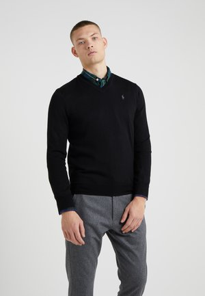 SLIM FIT - Stickad tröja - black