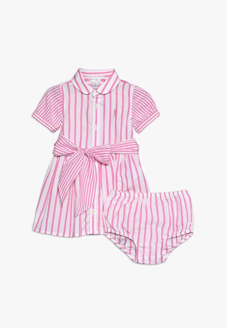Polo Ralph Lauren - STRIPE DRESS BABY SET - Blusenkleid - baja pink/white