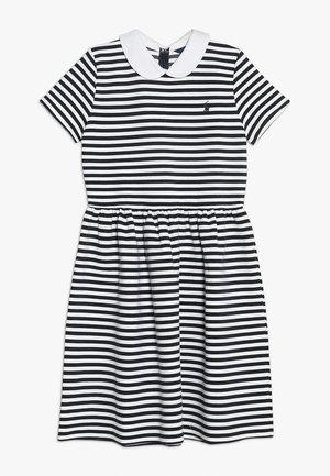 STRUCTURED STRIPE DRESS - Denní šaty - navy/white