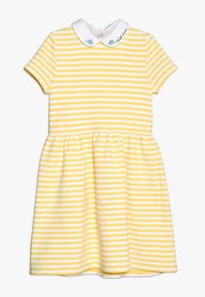 STRUCTURED STRIPE - Robe d'été - signal yellow/white