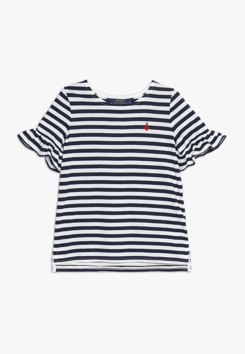 Polo Ralph Lauren - RUFFLE  - Print T-shirt - white/french navy