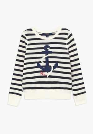 STRIPE TERRY - Mikina - clubhouse cream/hunter navy