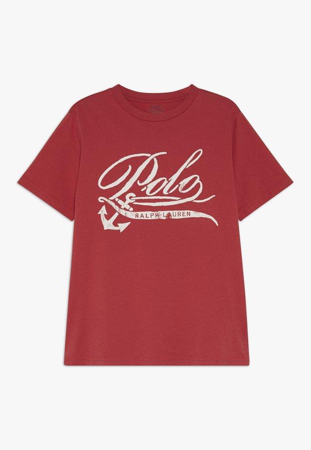 T-shirt med print - sunrise red
