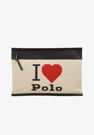 LARGE POUCH - Clutch - ecru/black