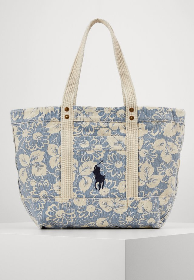 FLORAL PRINT TOTE - Tote bag - blue/white