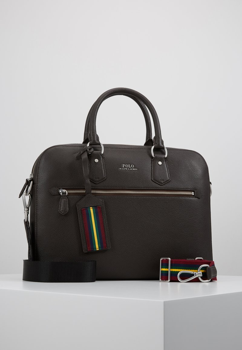 Polo Ralph Lauren - WEB STRAP PEBBLE BRIEFCASE - Attachetasker - dark brown