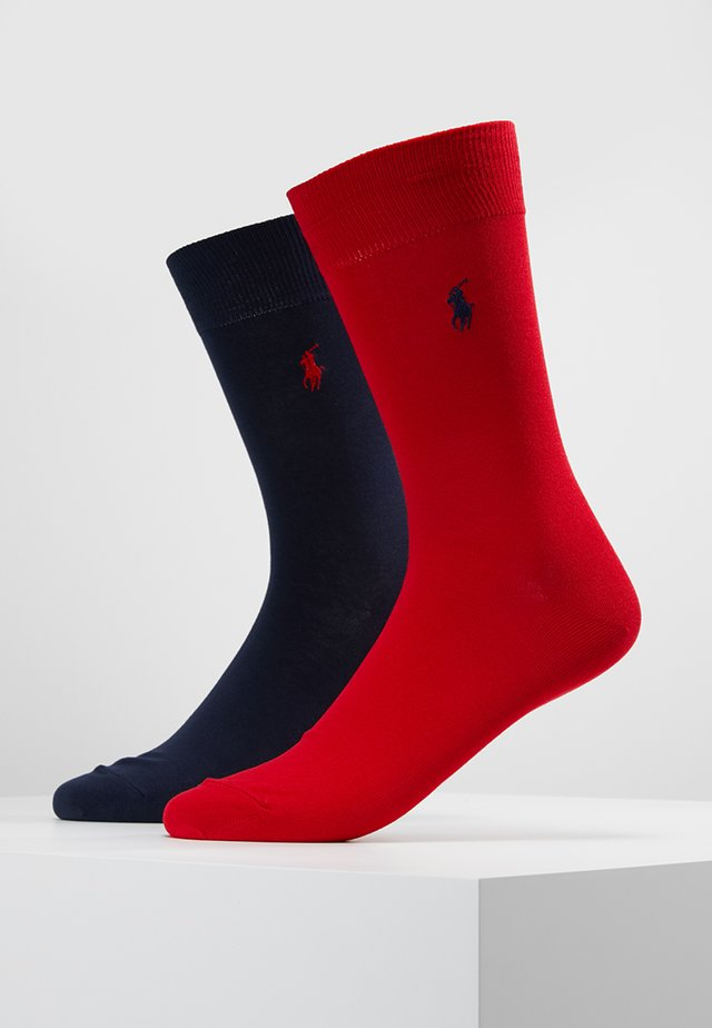 MERCERIZED SOLID 2 PACK - Calze - red/navy