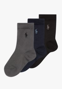Polo Ralph Lauren - SUPERSOFT CREW 3 PACK - Ponožky - navy grey/black solid - 0