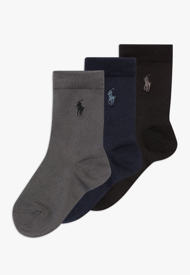 SUPERSOFT CREW 3 PACK - Calze - navy grey/black solid