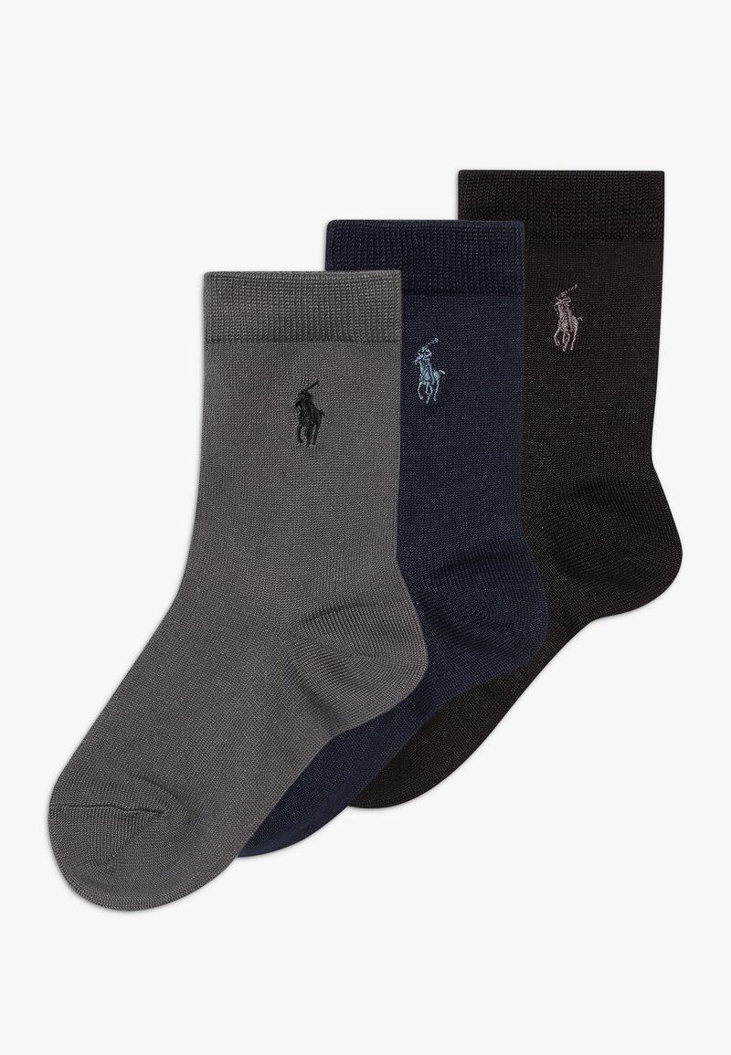 Polo Ralph Lauren - SUPERSOFT CREW 3 PACK - Ponožky - navy grey/black solid