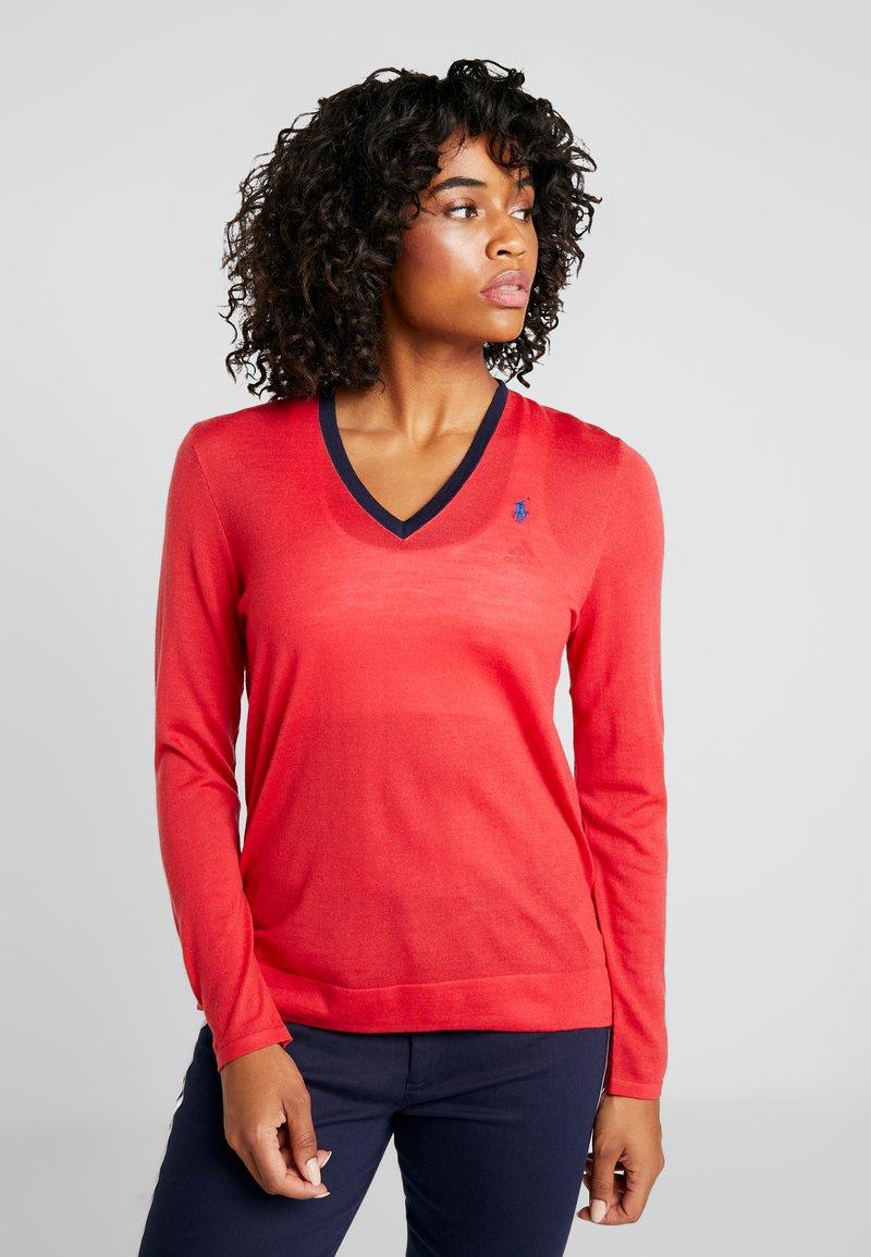 Polo Ralph Lauren Golf - V-NECK LONG SLEEVE - Stickad tröja - deep orangey red