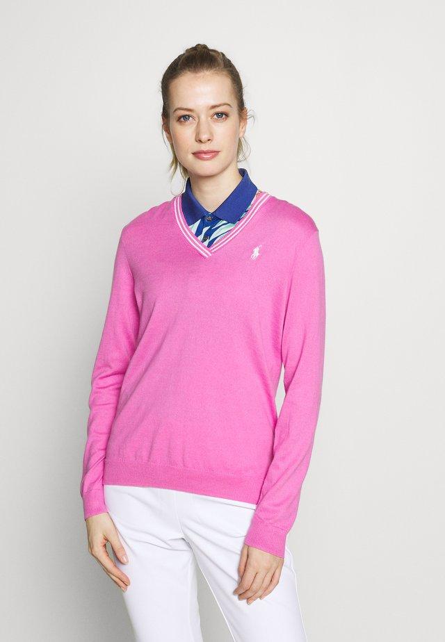 V-NECK-LONG SLEEVE-SWEATER - Longsleeve - resort pink/white