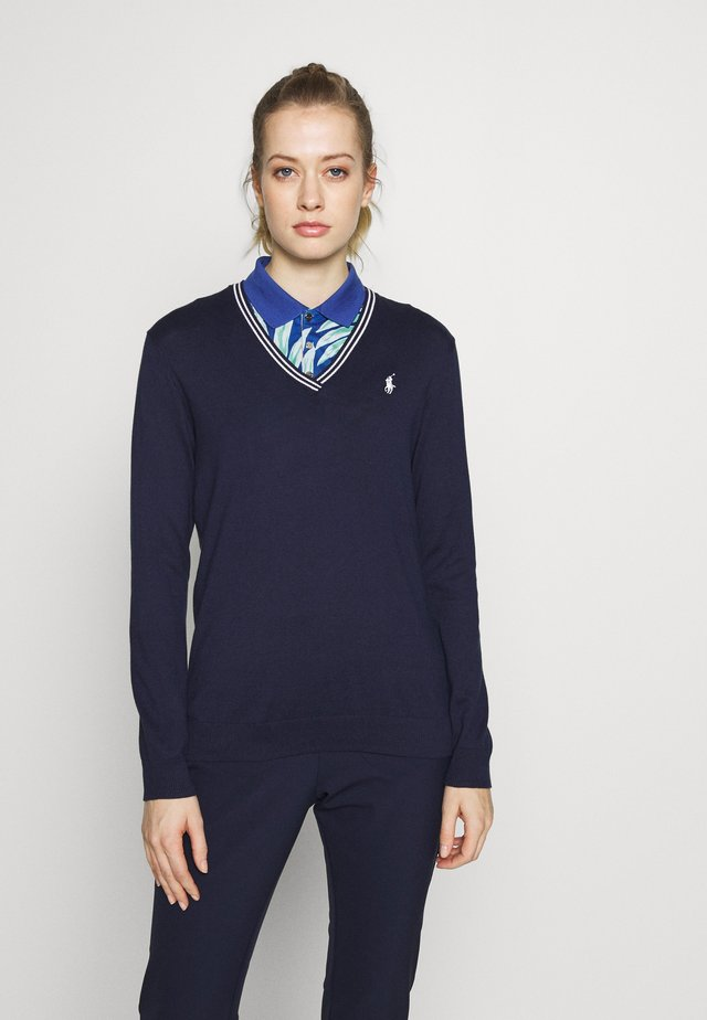 V-NECK-LONG SLEEVE-SWEATER - Långärmad tröja - french navy/white
