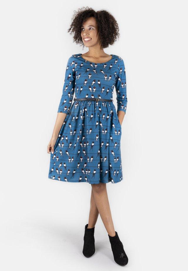 WITH POCKETS BELT KNEE LE - Jersey dress - blue