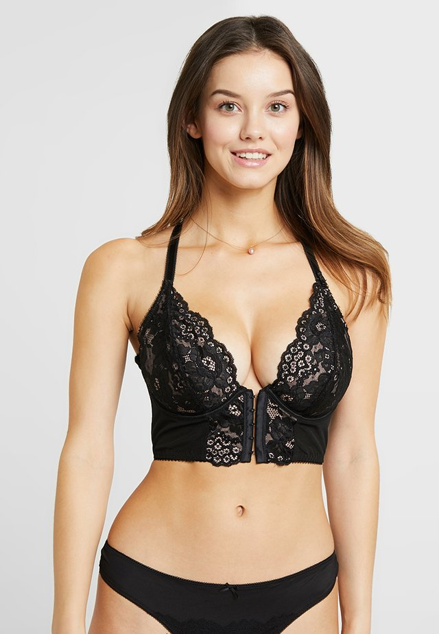 AMOUR ACCENT FRONT FASTENING UNDERWIRED BRALETTE - Underwired bra - black/pink