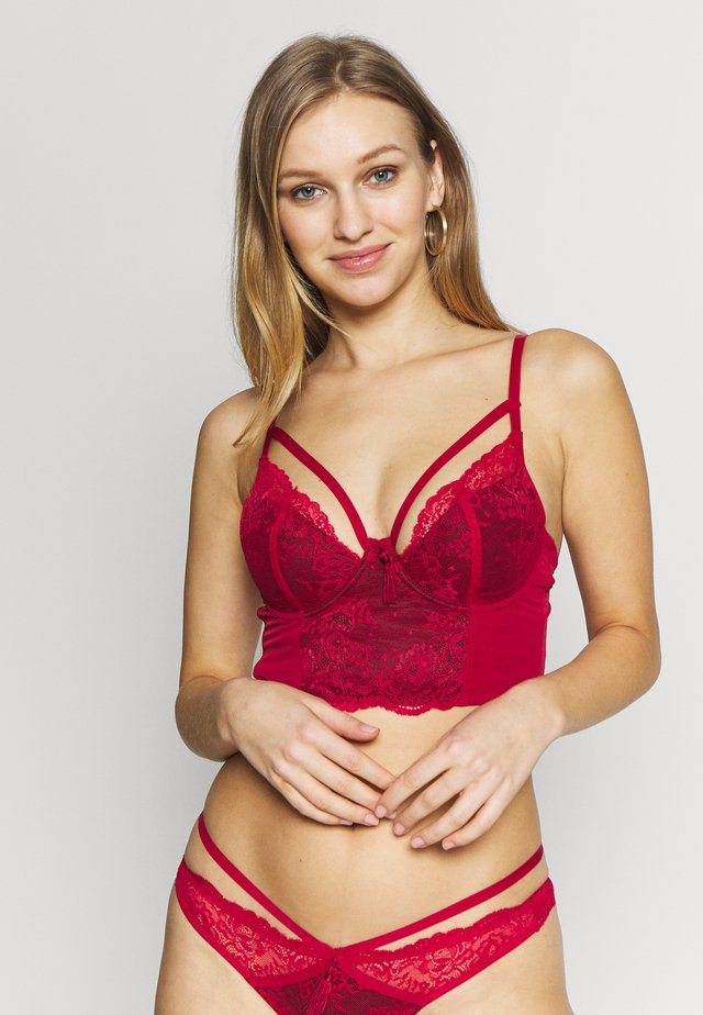 SENSATION LIGHTLY PADDED UNDERWIRED LONGLINE BRA - Underwired bra - red