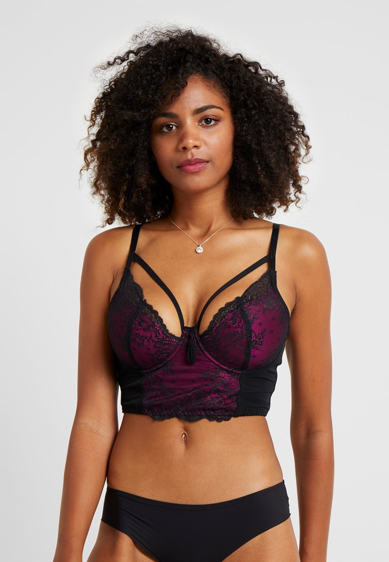 Pour Moi - SENSATION LIGHTLY PADDED UNDERWIRED LONGLINE BRA - Underwired bra - black/fucshia