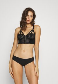 Pour Moi - INTENSE FRONT FASTENING UNDERWIRED LONGLINE BRA - Beugel BH - black - 1