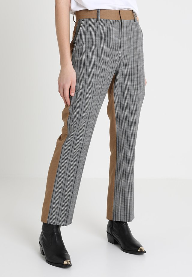 POSSOPHIE CHECK MIX PANTS - Trousers - ochre
