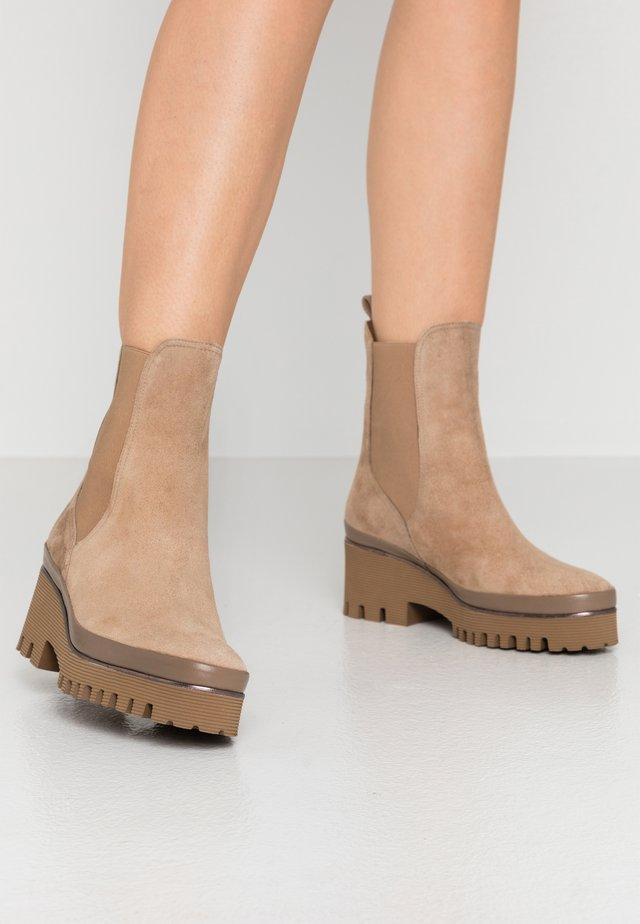 CARMEN - Platform ankle boots - beige