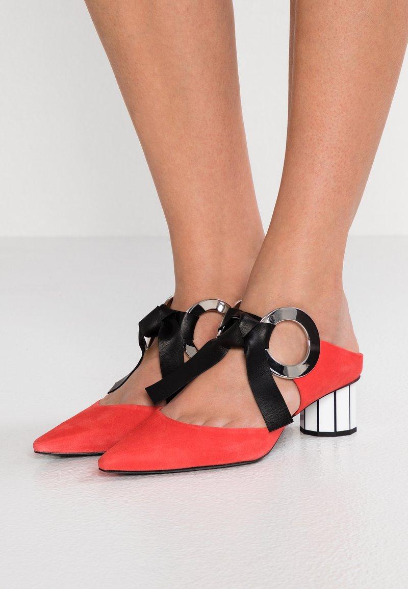 Proenza Schouler - Heeled mules - tangerine/white/black