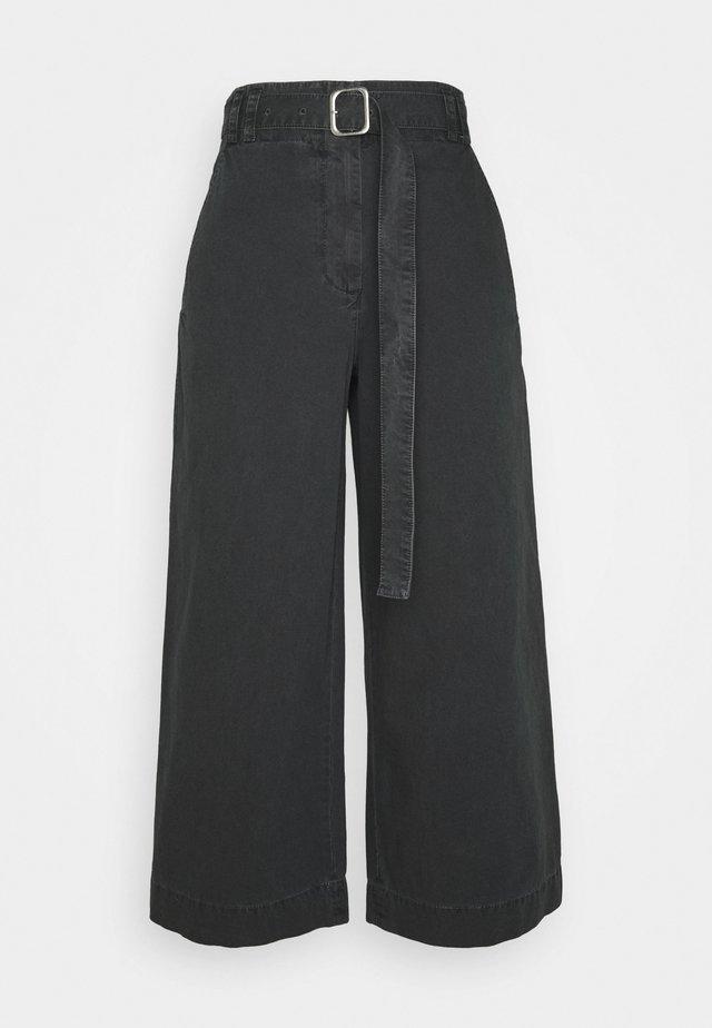 WASHEDBELTED PANT - Tygbyxor - black