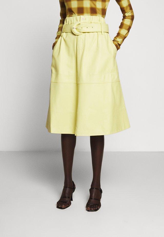 BELTED SKIRT - Spódnica trapezowa - lemon