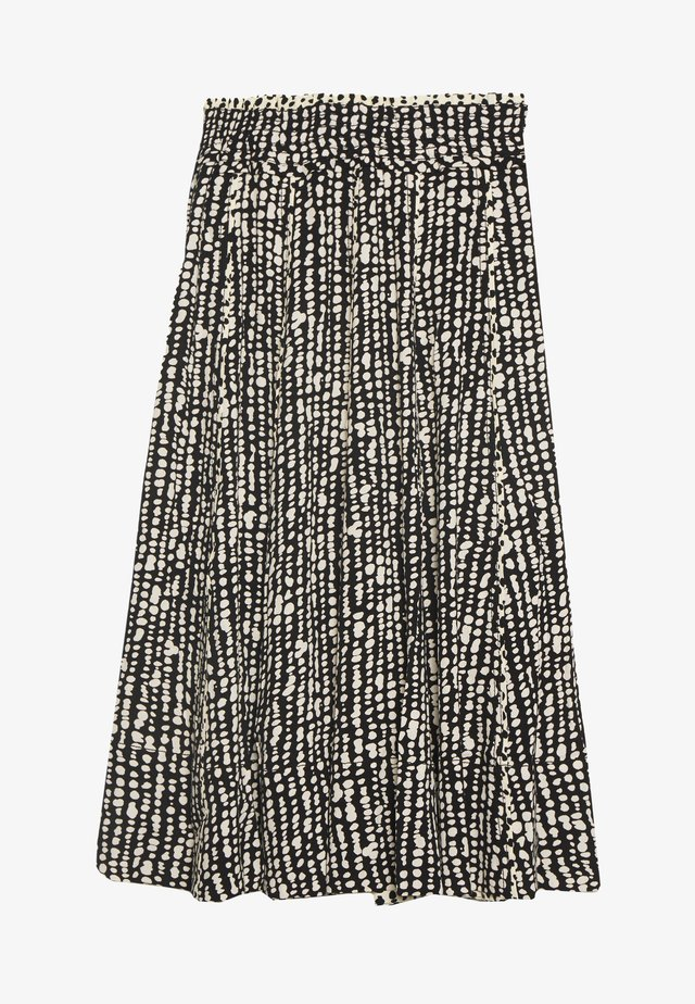 PRINTED GEORGETTE PLEATED SKIRT - A-line skirt - black/ecru