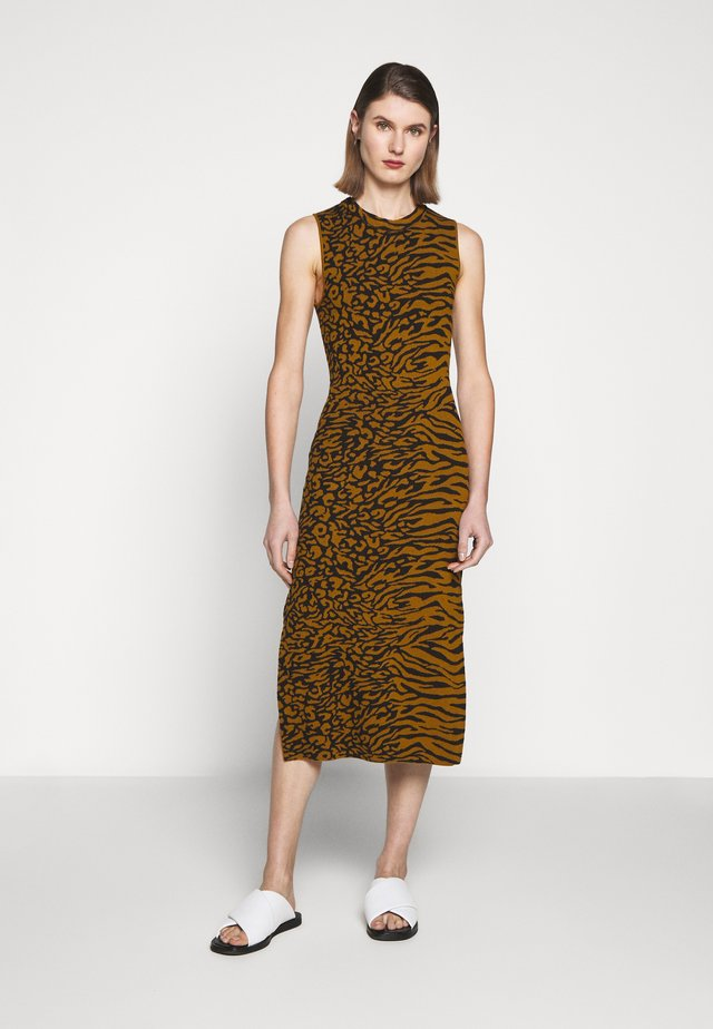 ANIMAL SLEEVELESS DRESS - Gebreide jurk - fatigue/black
